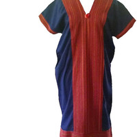 "Tunic dress pom pom size M/L bust 40"" V neck sack dress/ Hill tribe clothes/ Tribal shirt Blouse Navy blue red native tunic"