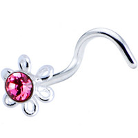 Sterling Silver Pink Daisy Nose Ring Made with SWAROVSKI ELEMENTS | Body Candy Body Jewelry