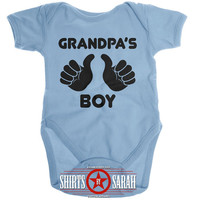 Grandpa's Boy Baby Onesuit - Cute Baby Boy's Onesuit Creeper Bodysuit New Grandpa Papa