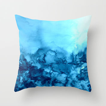 INTO ETERNITY, TURQUOISE Colorful Aqua Blue Watercolor Painting Abstract Art Floral Landscape Nature Throw Pillow by EbiEmporium