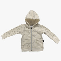 Nununu Grid Zip Hoodie in White/Grey - NU0620