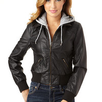 Hooded PU Jacket