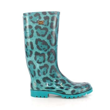Dolce & Gabbana Blue Leopard Rubber Rain Boots Shoes Wellies