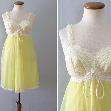 70s yellow slip - vintage white floral lace babydoll bow sheer full skirt nylon chiffon mid century mod pinup lingerie short mini nightie