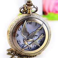Pocket Watch Vintage Retro Style Necklace Locket Pendant Chain (PWAT0100)