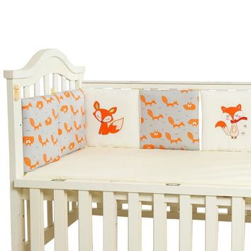 6pc Baby Bed Bumpers Cotton Fox Baby Elephant Crib Protector Around Cot Baby Bedding Set Back Cushion Pillow Newborn Room Decor