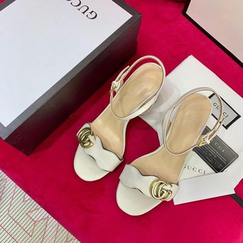 Gucci White Leather Mid Heel 75mm Double G Sandal - Best Online Sale