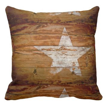 Primitive Country Rustic Barn Wood Star Pillow