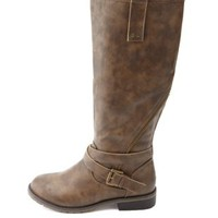Zipper-Trimmed & Belted Knee-High Riding Boots