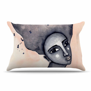 """Stacey-Ann Cole """"Yearning African American Art"""" Beige Black Pillow Sham"""