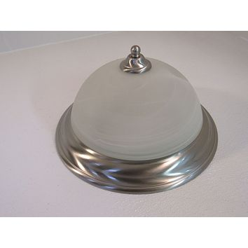 Hampton Bay 12in Ceiling Light Fixture Three Bulb Frosted/Brushed Nickel -- Used