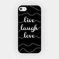 for iPhone 6 Plus - High Quality TPU Plastic Case - Live Laugh Love - Typography - Black - Motivational - Inspirational