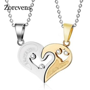 ZORCVENS Men Stainless Steel Chain Black Heart Love Necklaces for Couples Korean Ladies Fashion Trendy Paired Suspension Pendant
