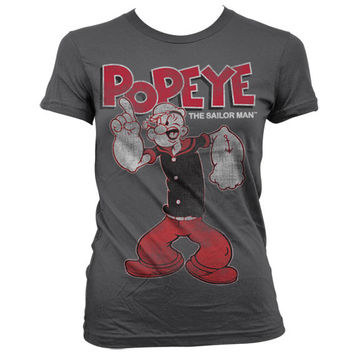 Popeye Distressed Sailor Man Girly T-Shirt (D.Grey)