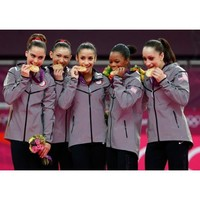 Olympic Woman's Gymnastics Fab Five with the Gold 8x10 Photo