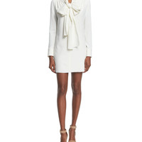 See by Chloe Long-Sleeve Tie-Neck Mini Dress, White