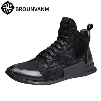 men High casual shoes retro British matte leather boots worn tide young personality  breathable sneaker fashion boots men casual