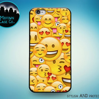 Happy Smiley Heart Face Emoji Collage Fun Rubber Case for iPhone 6S, iPhone 6S Plus, iPhone 6, iPhone 6 Plus, iPhone 5S, iPhone 5, iPhone 5C