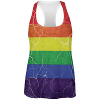Distressed Gay Pride Flag All Over Womens Work Out Tank Top