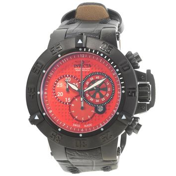 Invicta 80659 Men's Subaqua Noma III Chronograph Red Dial Black Leather Strap Dive Watch