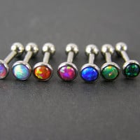 16g Tragus Helix Stud Earring Fire Opal White Orange Pink Blue Green Black 16 G Gauge 6mm Piercing Jewelry Cartilage CHOOSE ONE Barbell