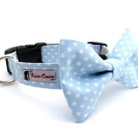Polka Dot Dog Collar (Light Blue & White) (Dog Collar Only - Matching Bow Tie Available Separately)