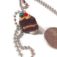 Chocolate Cake Necklace, cake slice charms, polymer clay charms, food jewelry, kawaii, gift ideas, miniature food, chocolate, cake necklace,