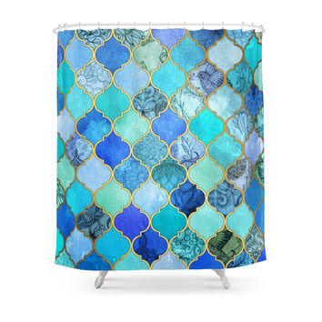 Society6 Cobalt Blue, Aqua & Gold Decorative Moroccan Tile Pattern Shower Curtains