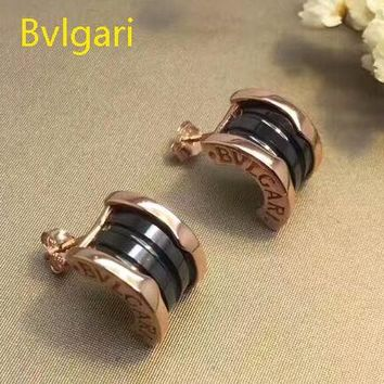 Bvlgari ZERO 1 Fashion New Sterling Silver Personality Women Earring Golden