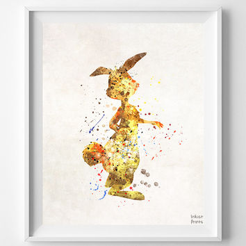 Rabbit Print, Winnie the Pooh, Pooh Print, Watercolor Art, Disney Poster, Baby Gift, Kid Room Decor, Bedroom Art, Fathers Day Gift