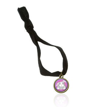 Bunny Rabbit Stretchy Elastic Hair Tie w- Brass Charm