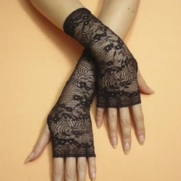 Black Lace Gloves, Fingerless Gloves, Retro Steampunk Mittens, Baroque Gothic, Cute Arm warmers in Gypsy and Boho Style, Arm Covers