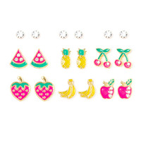Crystal and Enamel Fruit Stud Earrings Set of 9