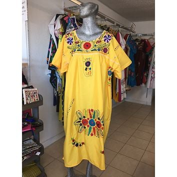 Mexican Handmade Traditional Dress Yellow/Plus Size