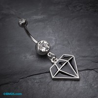 Urban Diamond Steel Belly Button Ring