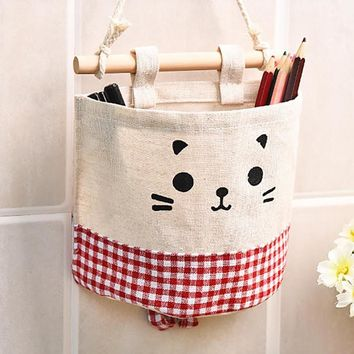 Cute Cat Cotton Linen Storage Basket Sundries Organizer Hanger Bag Door Wall Closet Hanging Pocket Pouch Makeup Cosmetic Holder