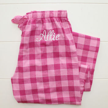 Monogrammed Flannel Pajama Pants Pink Plaid Personalized Christmas Gift Under 30 Dollars Black Friday