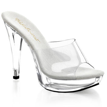 Clear Mule Sandal 5 Inch Heel-Stripper Shoes