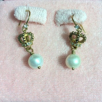 Juicy Couture Crown Pearl Drop Earrings