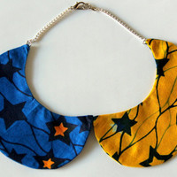 African Ankara Fabric Detachable Peter Pan Collar Necklace