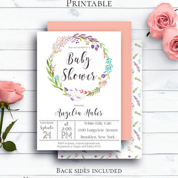 Floral Wreath Baby Shower Template, Customized Printable Baby Shower Invite,Rustic Watercolor Baby Shower Invite,Boho Baby Shower,Watercolor