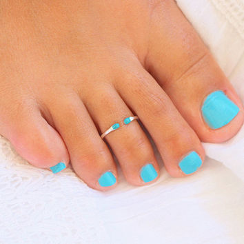 Open Toe Ring - Turquoise Toe Ring - Foot Jewelry - Sterling Silver Toe Ring - Body Jewelry - Toe rings