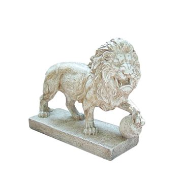 "10.5"" Weathered Finish Protective Lion Outdoor Patio Garden Statue"