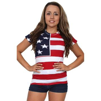 USA Flag T Shirt Screen Print
