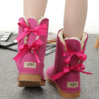 """UGG"" Women male Fashion Wool Snow Boots two bowknot Rose"