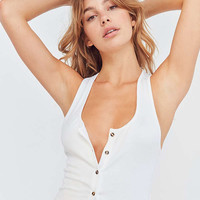 Out From Under Slinky Ribbed Button Tank Top   Urban Outfitters