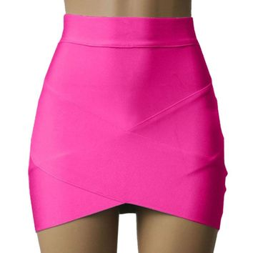 Sexy Bandage Rayon Good Elastic Women Mini Skirt Wiggle Slim Pencil Clubwear Suitable Casual Formal Clothing V2