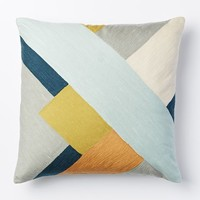 Crewel Modern Blocks Pillow Cover - Pale Harbor