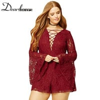 Dear lover Women Plus Size Jumpsuits And Rompers Floral Lace Long Bell Sleeves Lace-up Playsuits For Women Mono Elegante LC64169