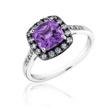 Amethyst, Rose de France Amethyst and Created White Sapphire Ring